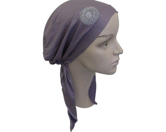 Soft Women's Lavender Headscarf Modest Tichel Chemo Turban Lavender with Beaded Circle Pretied Snood