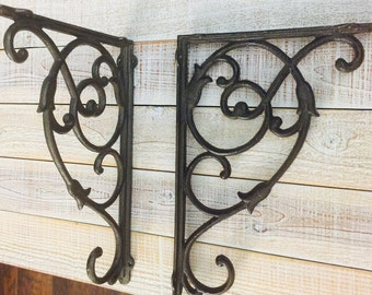 Iron Brackets, EXTRA LARGE, Shelf Brackets, Rustic, Supports, Display Shelf, Book Shelf, Cast Iron, Shelf Supply, Sold Individually