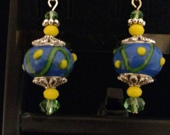CLEARANCE *Yellow and Blue Lampwork Glass Charm Earrings