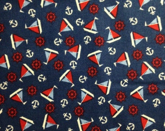 Nautical Red, Blue Sailboats and Anchors on Dark Navy Background, Toy Chest by Penny Rose Studio, Riley Blake, 100% Cotton