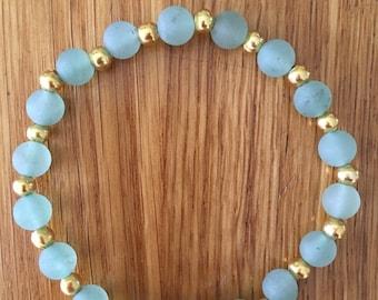 Matt green gemstone bracelet