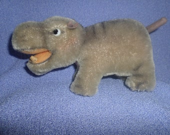Vintage Steiff Hippo plush mohair 1950 Mockie with chest tag 7""