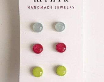 Earring set, stud earrings, spring earrings, minimal earrings