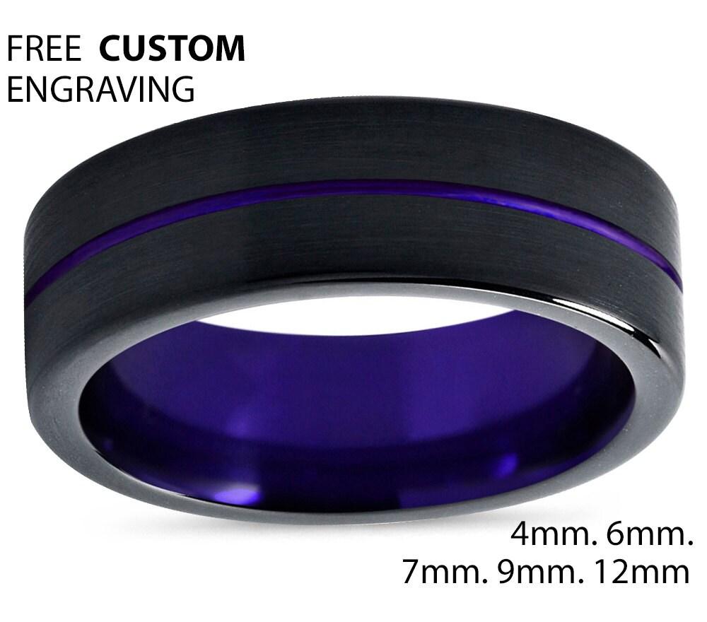 Tungsten Ring Mens Black Purple Wedding Band Ring Tungsten