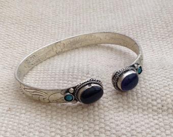 Ethnic Amethyst Dark Black Onyx Turquoise Cuff Bracelet