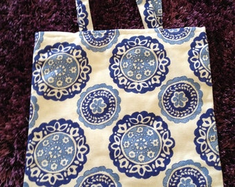 Chinese traditional blue floral print tote bag