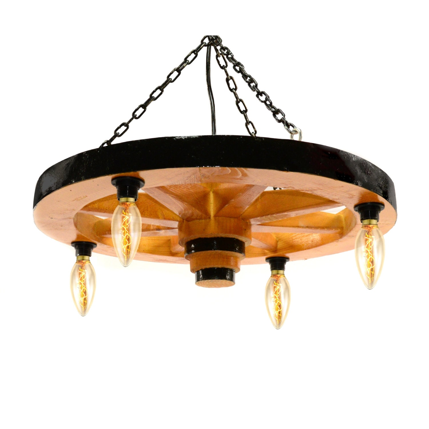 Wooden Rustic Chandelier Wagon Wheel Ceiling Light Fixture 4