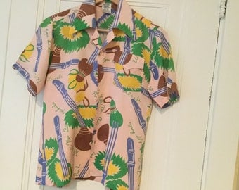 HAWAIIAN Rayon TROPICAL PRINT Shirt 70's Mileau & Sinclair