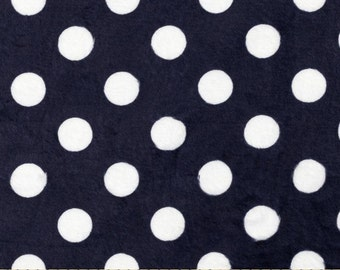 Minky Fabric Blue and White Polka Dot Sold by the Yard