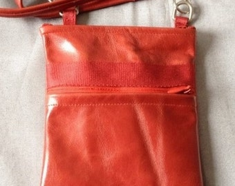 Small red cowhide leather bag