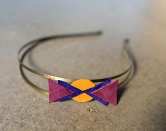 headband fascinator Purple Leather / plum and mustard