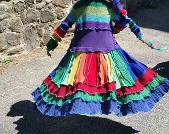 Custom upcycled, children's  rainbow pixie, sweater coat