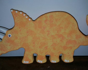 Hand Painted Wooden Dinosaur