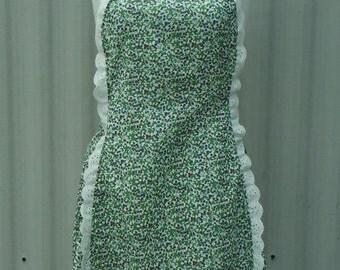 floral apron, womens apron, full apron, vintage style apron