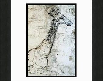 24X36 Giraffe Graphic Art Print, Wall Art, Home Decor,