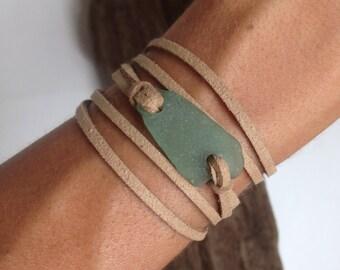 Aqua Blue Sea Glass and Brown Leather Wrap Bracelet