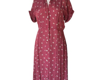1940's Rosey Pink Pokka Dot Spotted Pleated Day Dress with Shell Shaped Glass Buttons Cuffed Sleeves