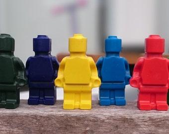 Blocks and minifig crayons
