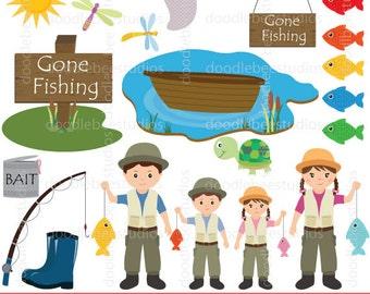 Fishing Clipart, Gone Fishing Clipart, Gone Fishin Clipart, Fishing Clip Art, Fisherman Clipart, Family Fishing Clipart, Fishing Rod Clipart