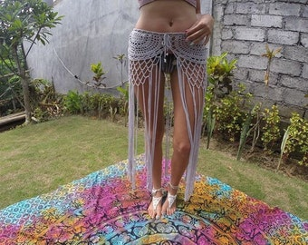 Gypsy, crochet, tassel skirt, with long fringe. Taken from an original pattern from the seventys. Festival clothing. Boho skirt. Vegan skirt
