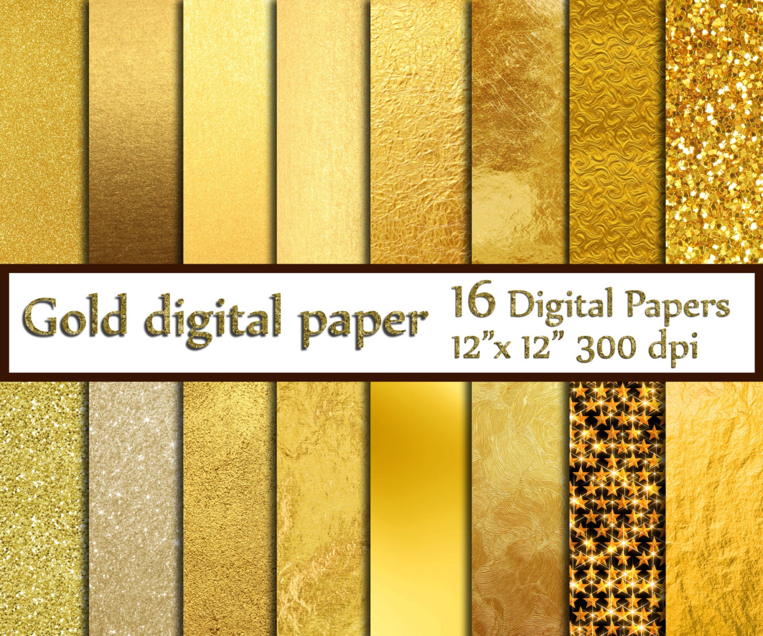 Playful image within printable gold foil paper