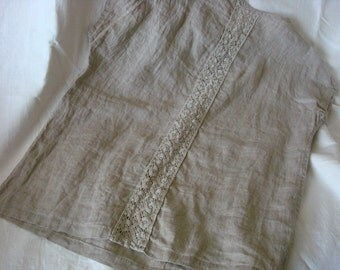 Linen tunic dress summer dress tunic with linen lace  designed by Luxoteks