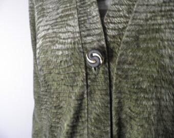 Vintage Green Velvet Long Cardigan Coat  Size L