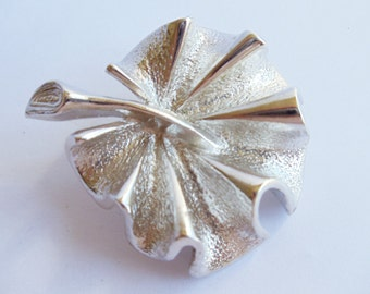 """Vintage Sarah Coventry Silver Tone """"Flirtation"""" Leaf Brooch, Silver Tone Leaf Pin, Leaf Brooch, Sarah Coventry Brooch, Floral Jewelry,1960s'"""