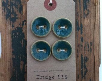 Handmade ceramic buttons with teal glaze - Set of four
