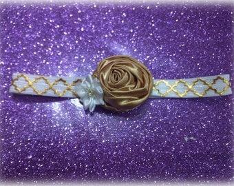 Gold Rolled Rose Headband