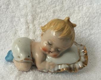 Vintage Sleeping Baby Figurine