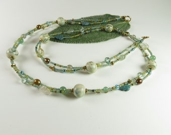 Double strand aqua necklace and earrings with Kazuri beads