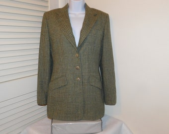 Vintage Ralph Lauren Equestrian Blazer 100 percent Shetland Wool USA Made Padded Shoulders Lined  Tag Says 10 Green Plaid