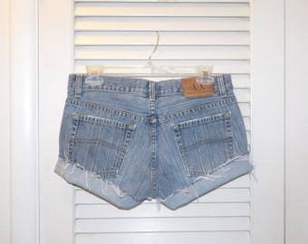 Vintage A/X Armani Exchange Cut Off Shorts USA Made Lowrise Tag Says 6  Waist Measured 31 Inches Gray Stripe Pattern Distressed Style