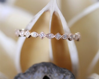 Art Deco Style Diamond Wedding Band,Full Eternity Pave Diamonds Wedding Ring,Dainty Diamond Ring 14K Rose Gold (Half Eternity Is Available)