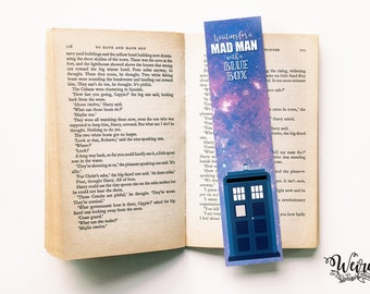 Doctor Who quote bookmark (segnalibro) - Waiting for a mad man with a blue box - TARDIS