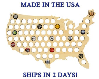 USA Beer Cap Map, Beer Cap Map, Beer Cap Display, Man Cave, Husband Gift, Father's Day Gift, Boyfriend Gift, Gifts for Men, Christmas Gift
