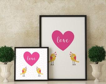 Love, Birds & Heart Cute Poster Digital Art Print 24x36