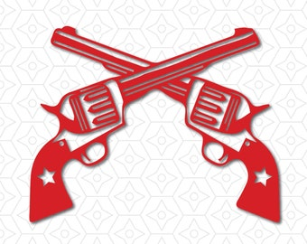 Western Revolver Guns Crossed Decal, SVG, DXF and AI Vector files for use with Cricut or Silhouette Vinyl Cutting Machines