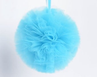Baby blue tulle pompom / wedding party decorations pom poms