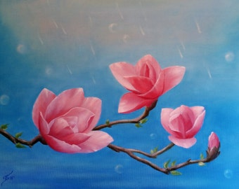 We are TOGETHER...Symbol of the family. Magnolia. Original. Oil on canvas. ENERGY ART by Ingrida. Best gift for her or him.