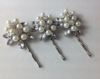 Crystal and Pearl hair pins, Bridal hair pins, Wedding hair pins, Bridal hair Pins, pins, Hair accessories, Silver Pins, Pearl Hair Pins