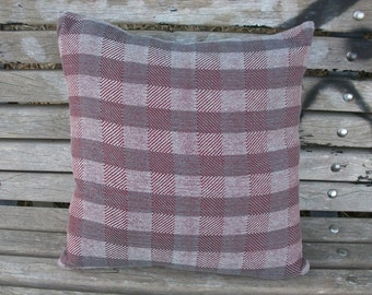 Cushion cover hand-woven, Cushion cover, Burgundy marsala grey, 40 x 40 cm, checkered, simple minimalist House, 80% cotton - 20 lines