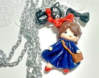 Kiki's delivery service polymer clay necklace/ Kiki and Jiji polymer clay necklace / Studio Ghibli necklace / Studio ghibli polymer clay
