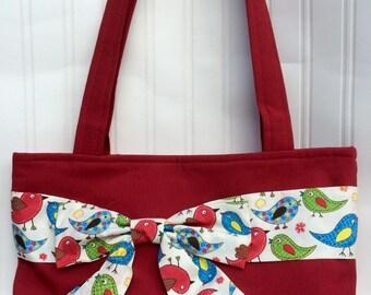 SALE! Handmade handbag with Bow, handbag, red bag, ladies bag, shoulder bag, gifts for her