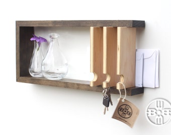 Entryway Key Rack, Key Hook, Key Holder for Wall, Key and Mail Holder, Wall Key Holder, Modern Shelf, Solid Wood, Key Hanger, Wood Shelf