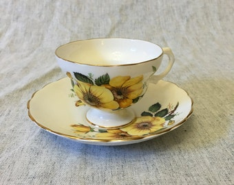 Vintage English Bone China Yellow Wild Roses Tea Cup and Saucer