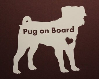 items similar to little pug vinyl decal f43 on etsy. Black Bedroom Furniture Sets. Home Design Ideas