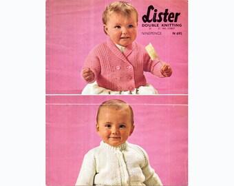 Genuine Vintage 1950s Pretty 'Cutesome' Two-Some Babys Cardigan Set Knitting Pattern PDF