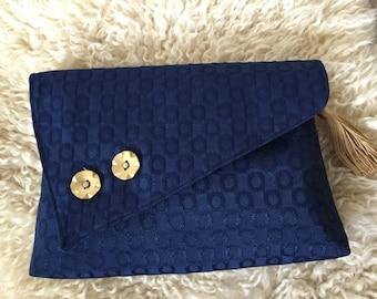 Clutch Bag / Evening Bag - Blue textured